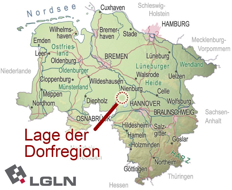 DRMW-Lage in Niedersachsenkarte